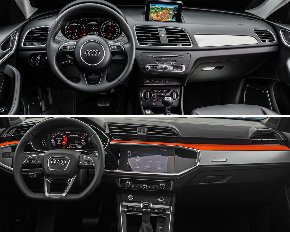 Antes e depois da cabine do Audi Q3 — Foto: Divulgação