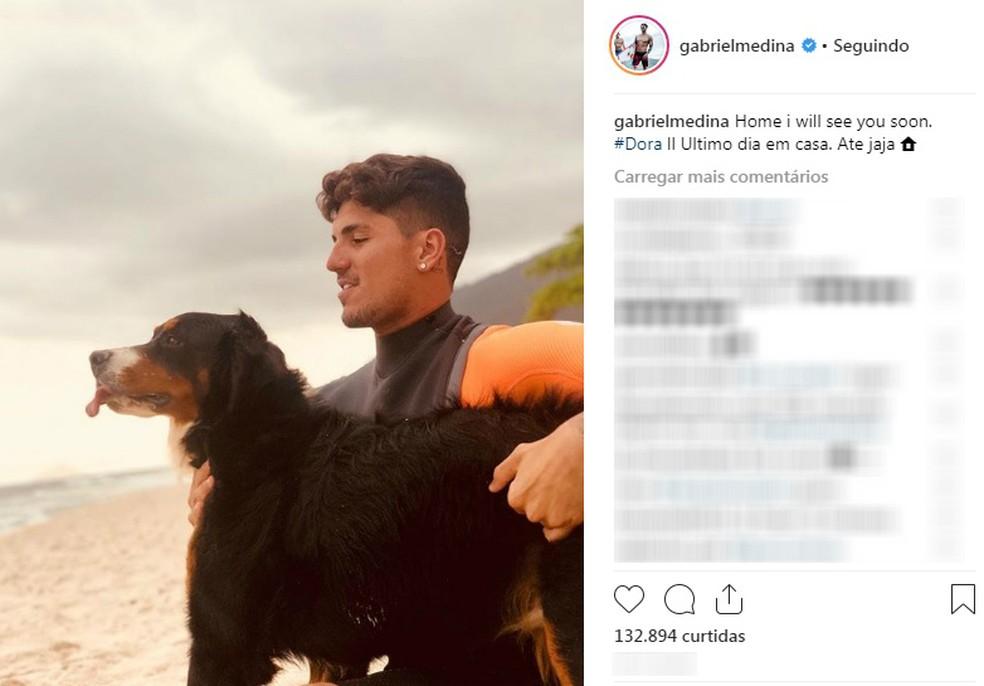 Gabriel Medina fez post de despedida antes de embarcar para a etapa de Pipeline do Mundial de Surfe — Foto: Reprodução/Instagram