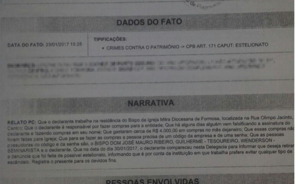 Boletim de ocorrência registrado por funcionário da diocese de Formosa Goiás (Foto: Reprodução/TV Anhanguera)