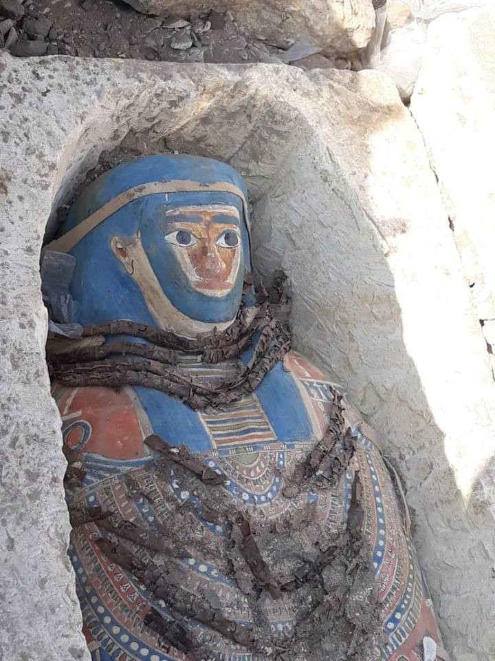 Uma das oito tumbas decoradas descobertas em Daishur (Foto: Egyptian Ministry of Antiquities)