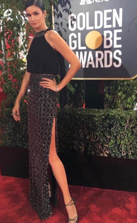 Carol Ribeiro no Globo de Ouro 2018 (Foto: Getty Images)