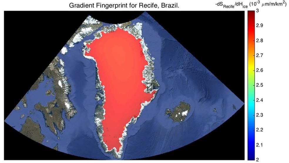 Recife será apenas um pouco menos afetada pelo derretimento da Groenlândia do que o Rio de Janeiro | (Foto: JPL Nasa)