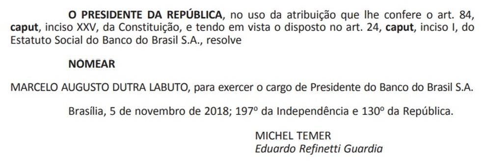 Nomeação de Marcelo Labuto como presidente do Banco do Brasil é publicada no 'Diário Oficial' — Foto: Reprodução
