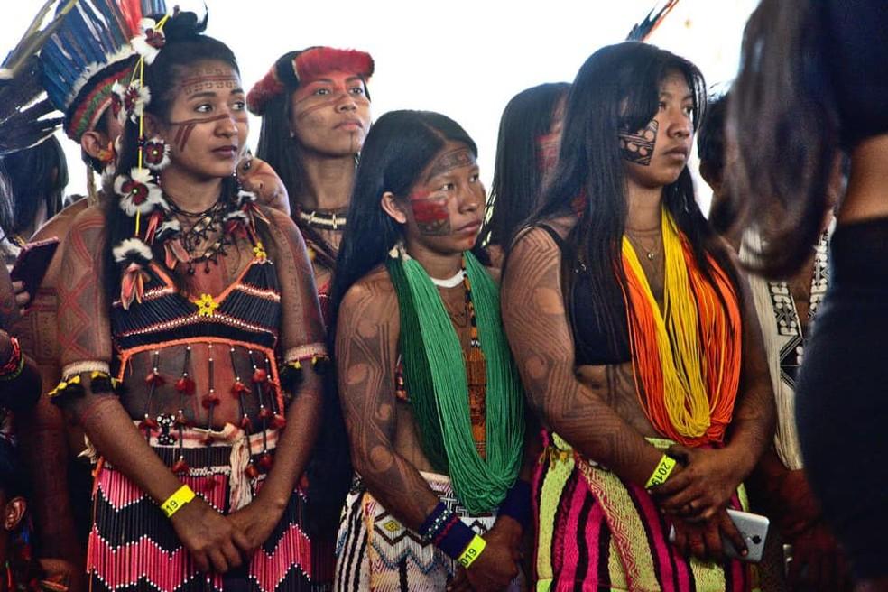 1ª Marcha das Mulheres Indígenas — Foto: Douglas Freitas/Mídia Índia