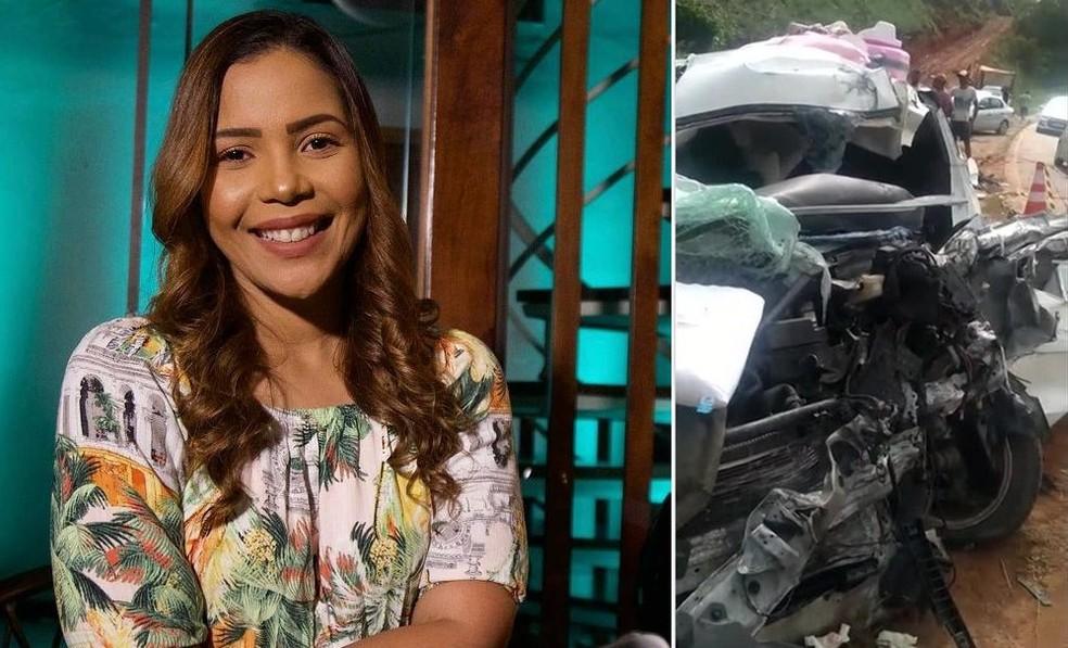 Cantora gospel Amanda Wanessa sofreu acidente na PE-60, na Zona da Mata Sul, e veículo em que estava ficou destruído — Foto: Arte/G1