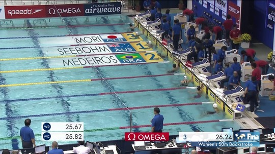 Etiene Medeiros conquista a prata nos 50m costas da Copa do Mundo de Natação