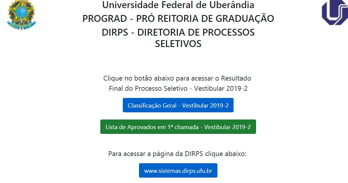 UFU divulga resultado final do vestibular 2019-2 - Notícias - Plantão Diário