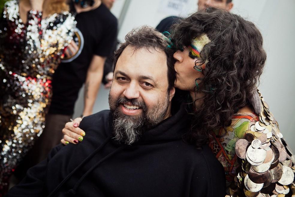 Marcelo Yuka e Cibelle durante o festival Rock in Rio 2011. Foto de setembro de 2011 — Foto: Raul Aragão/Grudaemmim/Rock in Rio