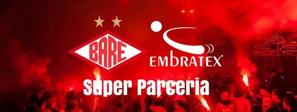 Anúncio da Embratex como novo fornecedor de material esportivo do Colorado foi feito na página do clube no Facebook (Foto: Reprodução/Facebook/Baré Esporte Clube)