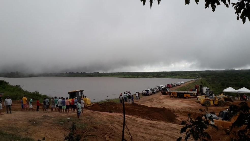 Barragem do Açude Granjeiro, em Ubajara, no Ceará, corre o risco de rompimento. — Foto: Arquivo Pessoal