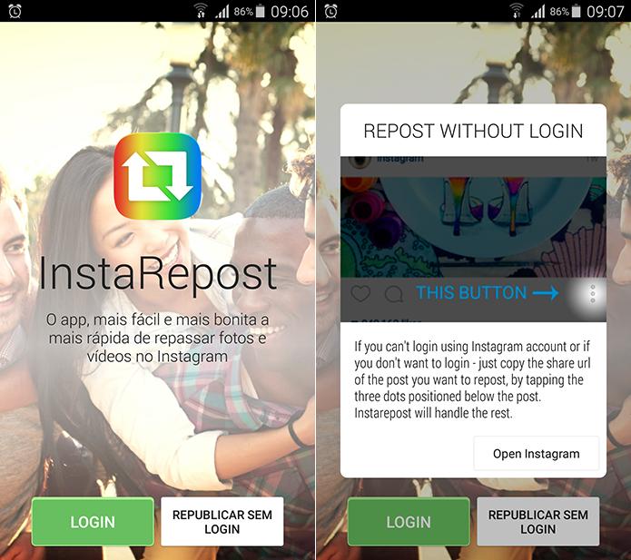 InstaRepost permite que você reposte imagens e vídeos de outras pessoas no seu perfil (Foto: Reprodução/Filipe Garrett)