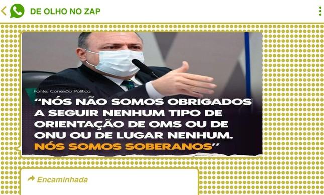 Fala de Pazuello em referência a organismos internacionais afagou o bolsonarismo raiz, que alimenta críticas ao chamado 'globalismo' apontado pelo ex-chanceler Ernesto Araújo e o guru Olavo de Carvalho