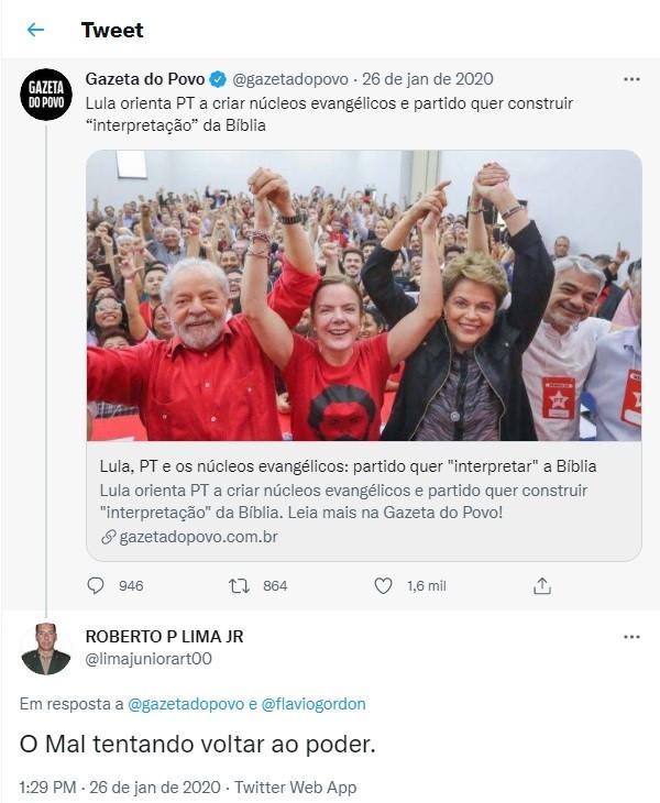 O tenente-coronel Roberto Lima Júnior faz ataque ao PT em postagem de rede social