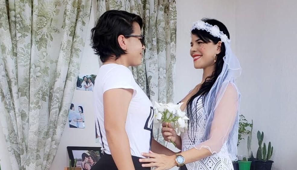 Welly Stefani e Suyane Vieira durante a cerimônia simbólica — Foto: Arquivo Pessoal /Welly Stefani