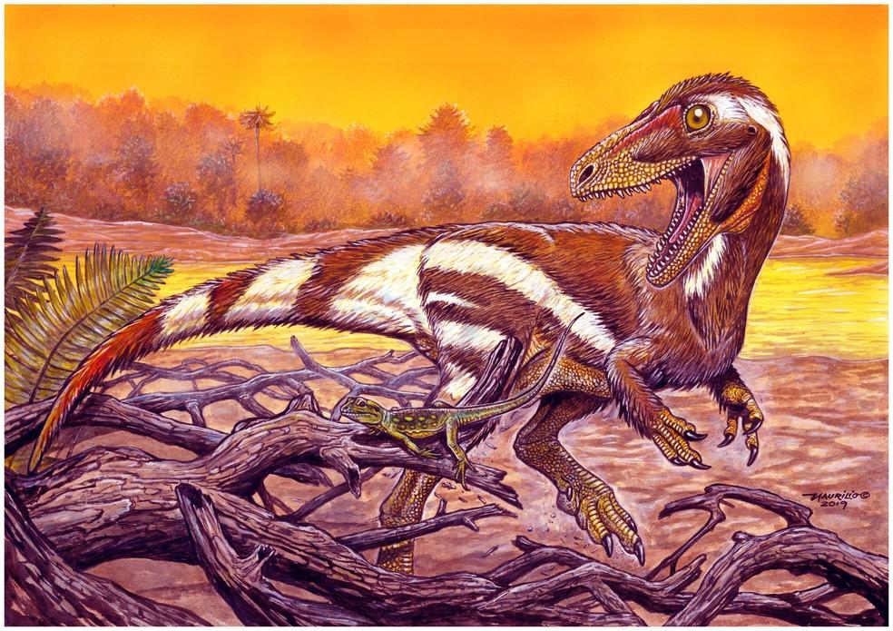 Reconstrução indica como era o dinossauro, que viveu no período Cretáceo. — Foto: Divulgação