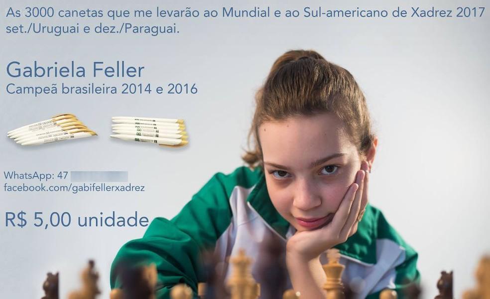 Gabriela vendeu canetas para custear participação em campeonato (Foto: Gabriela Feller/Divulgação)