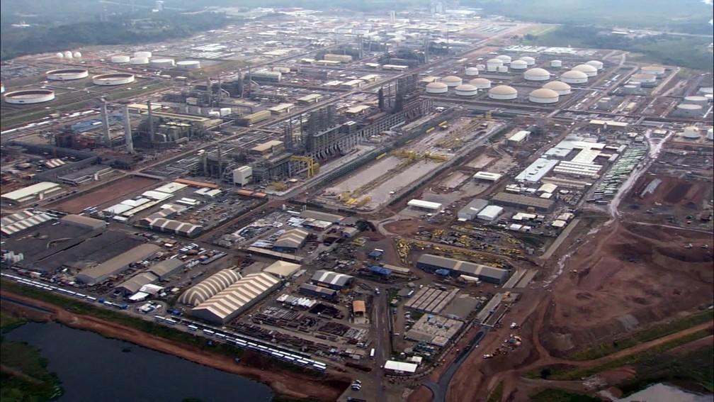 Vista aérea do Comperj, em Itaboraí (Foto: Reprodução/TV Globo)