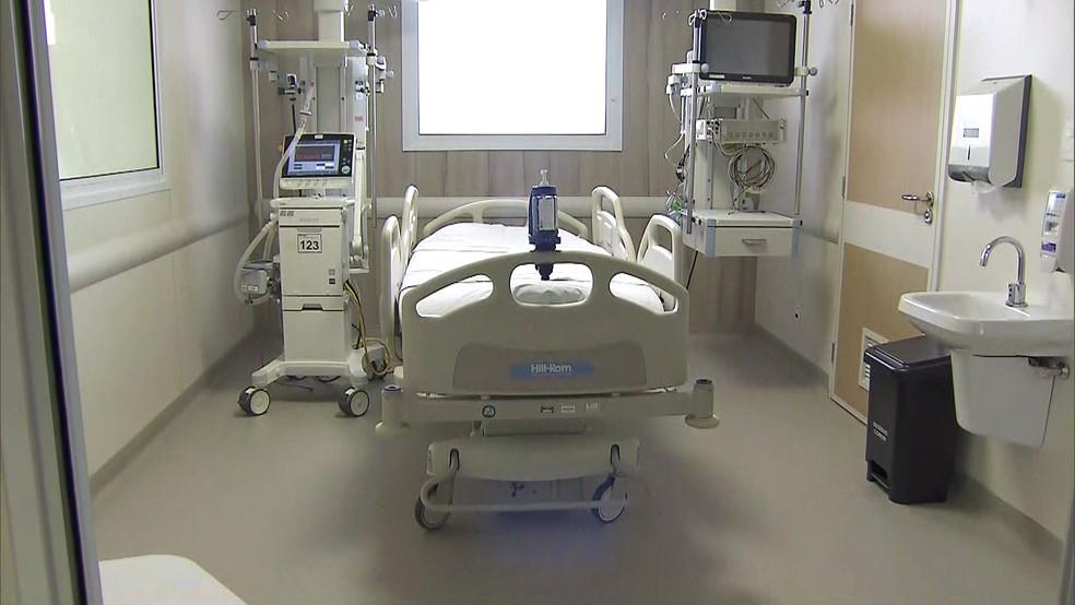 Leito isolado do Hospital das Clínicas de São Paulo pode receber pacientes graves do coronavírus — Foto: Reprodução/TV Globo