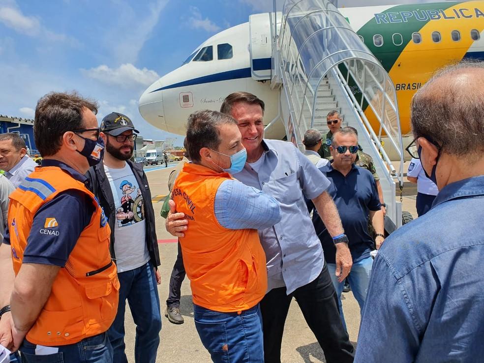Presidente Jair Bolsonaro esteve em Santa Catarina em dezembro de 2020 — Foto: Secom/Reprodução