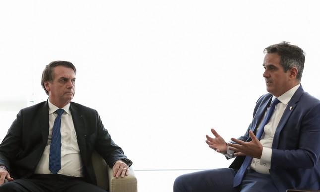 O senador Ciro Nogueira (PP-PI) participa de reunião com o presidente Jair Bolsonaro em Brasília, em abril de 2019