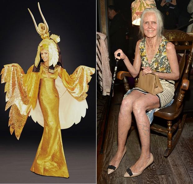 Em 2012, Heidi Klum arrasou como Cleópatra. Em 2013, Heidi Klum virou uma vovó chique com direito até a cadeira de balanço (Foto: Getty Images)