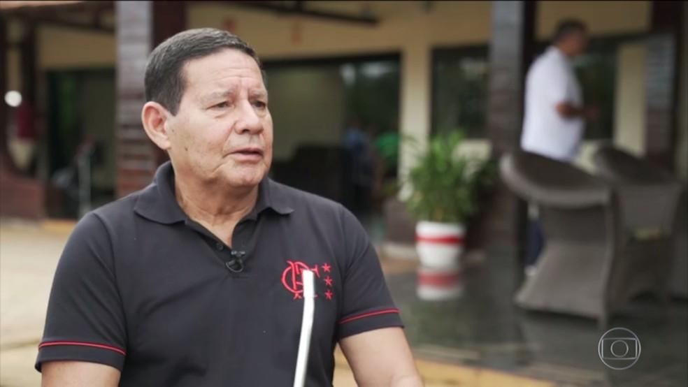 O vice-presidente da República, Hamilton Mourão — Foto: Reprodução/TV Globo