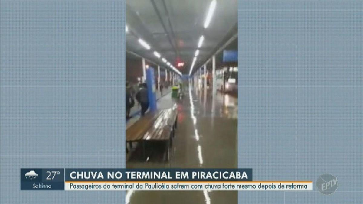 Reinaugurado em setembro, terminal de Piracicaba é invadido pela água durante chuva - G1