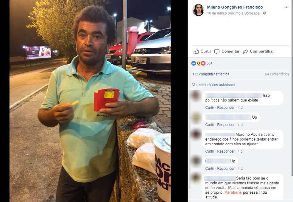 Morador de rua foi surpreendido por boa ação de jovem de Sorocaba (SP) (Foto: Facebook/Reprodução)