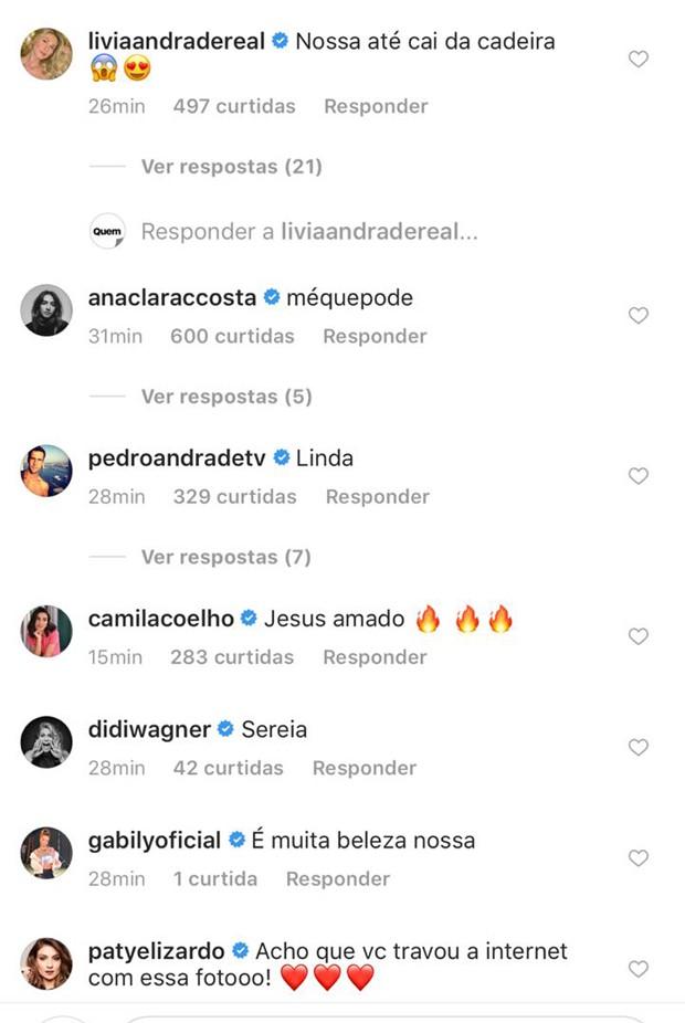 Comentários de famosos no post de Bruna Marquezine (Foto: Reprodução/Instagram)