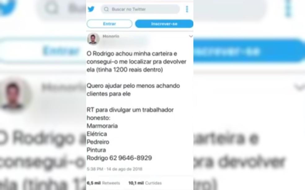 Honório fez post na internet para indicar serviços de Rodrigo, em Goiânia (Foto: Reprodução/TV Anhanguera)