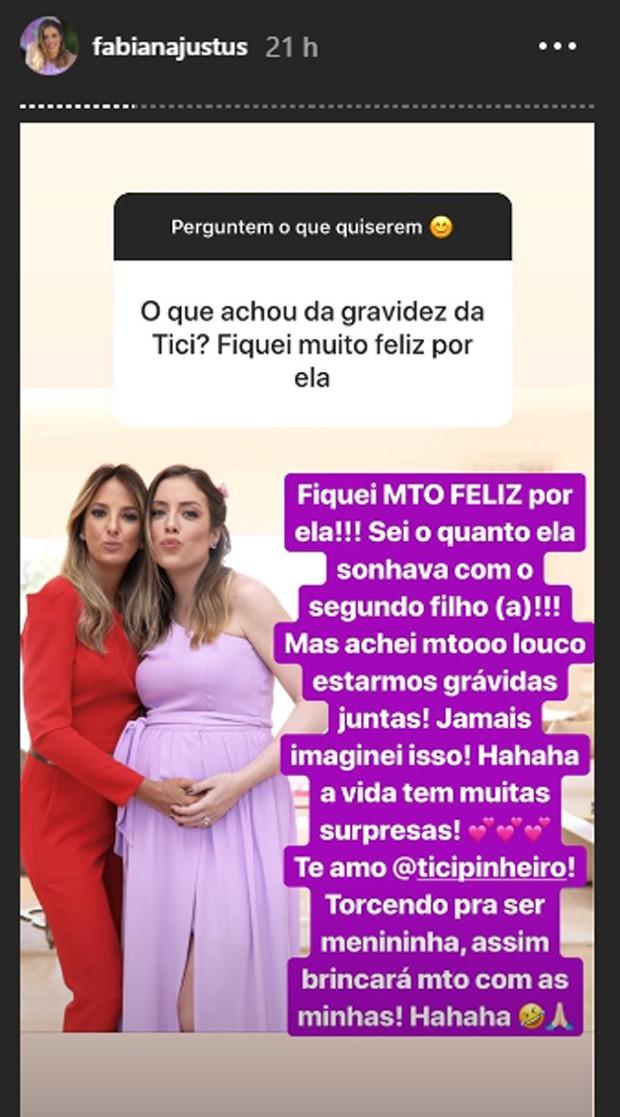 Fabiana Justus fala da gravidez de Ticiane Pinheiro (Foto: Reprodução/Instagram)