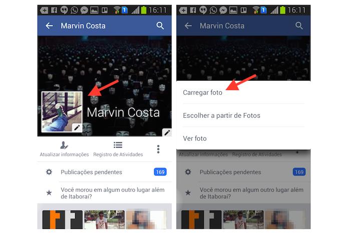 Acessando as fotos salvos no Android para definir uma nova foto de perfil no Facebook (Foto: Reprodução/Marvin Costa)