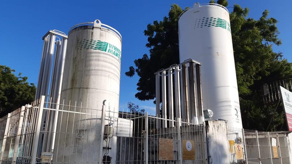 Cilindros de oxigênio em Natal, RN — Foto: Sérgio Henrique Santos/Inter TV Cabugi