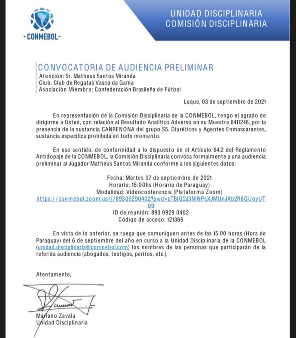 O comunicado da Conmebol sobre o doping de Miranda — Foto: Reprodução