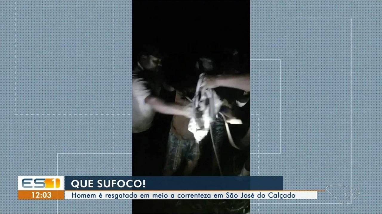 Homem é resgatado em meio à correnteza em São José do Calçado, no ES