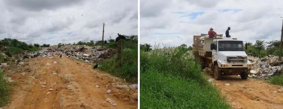 No dia da vistoria do MP-AC, em abril, caçambas jogavam lixo às margens do ramal — Foto: Arquivo/Ministério Público do Acre