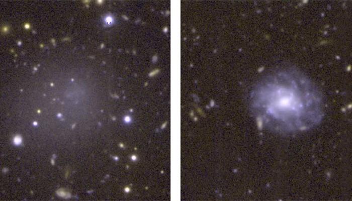 DGSAT I (esquerda) é uma galáxia ultra-difusa que não tem muitas estrelas como galáxias normais (direita) (Foto: A. Romanowsky/UCO/D. Martinez-Delgado/ARI)