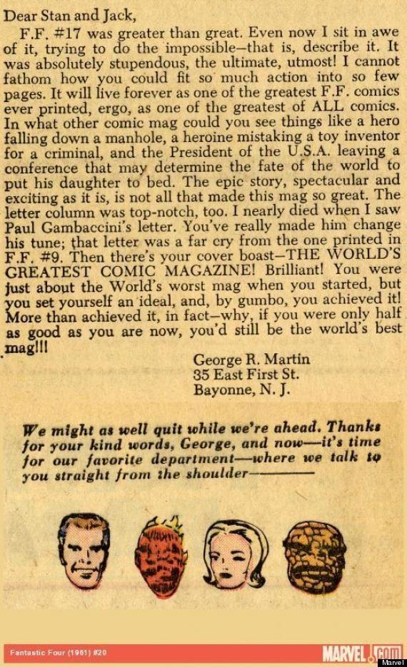 Carta de George R. R. Martin à Stan Lee e Jack Kirby (Foto: Marvel)