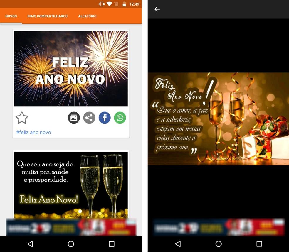 App Vídeos e Imagens para WhatsApp tem diversas figuras e GIFs prontos para enviar no Ano Novo — Foto: Reprodução/Rodrigo Fernandes