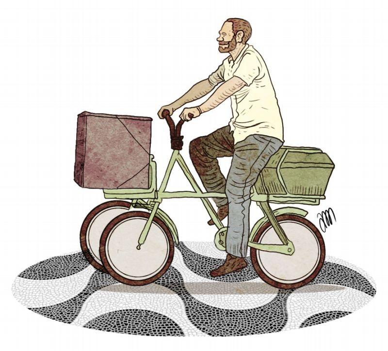 Por dia, Copacabana registra 19 mil entregas por meio de bicicletas e tricilos
