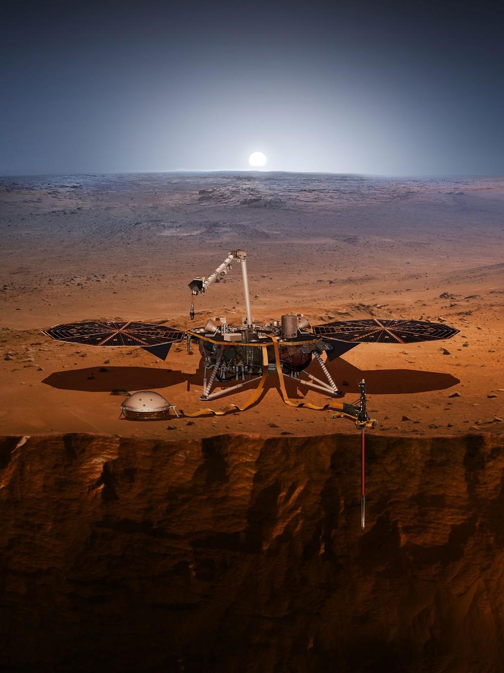 Ilustração artística mostra como a InSight vai estudar o interior de Marte.  — Foto: NASA
