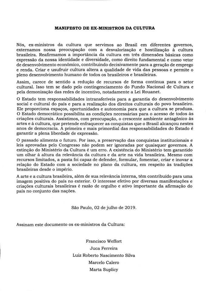 Manifesto assinado por ex-ministros da Cultura