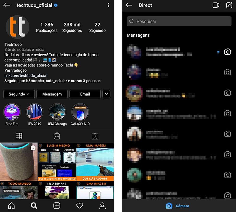 Instagram muda de cor automaticamente quando Modo Noturno está ativo — Foto: Reprodução/Paulo Alves