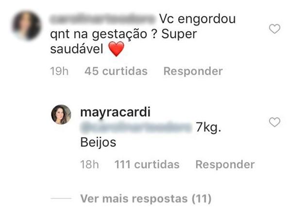 Comentário de fã de Mayra Cardi (Foto: Reprodução/Instagram)