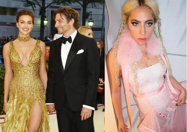 O ator Bradley Cooper com a namorada, a modelo Irina Shayk, e a cantora Lady Gaga (Foto: Getty Images/Instagram)