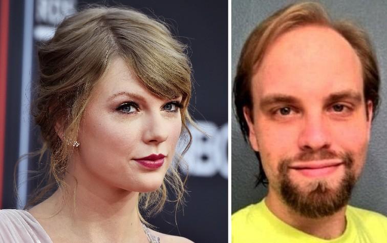 A cantora Tayloe Swift e o homem preso após enviar mais de 40 cartas com ameaças de morte contra ela (Foto: Getty Images/Reprodução)