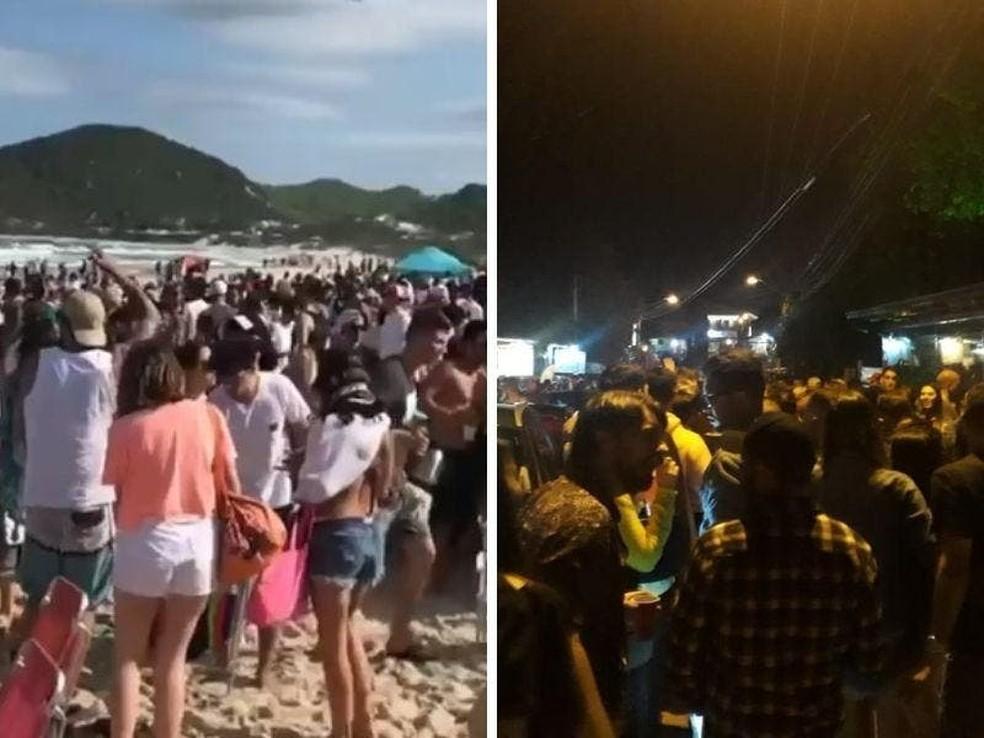 Praia do Rosa em Imbituba teve registro de aglomerações  — Foto: Reprodução Redes Sociais/NSC