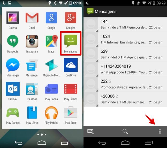 Abra o aplicativo de Mensagens do Android (Foto: Reprodução/Helito Bijora)