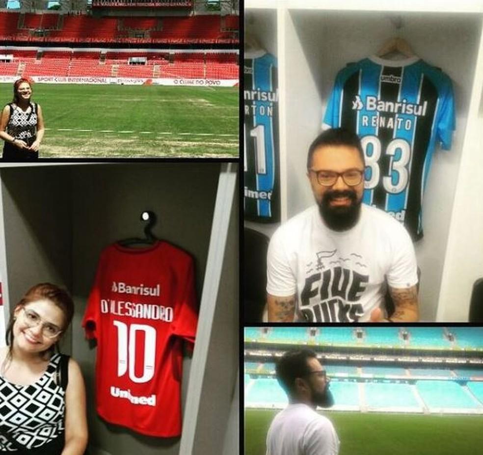 Casal divide paixões pelos times de futebol — Foto: Orlando Oliveira Junior/ Arquivo pessoal