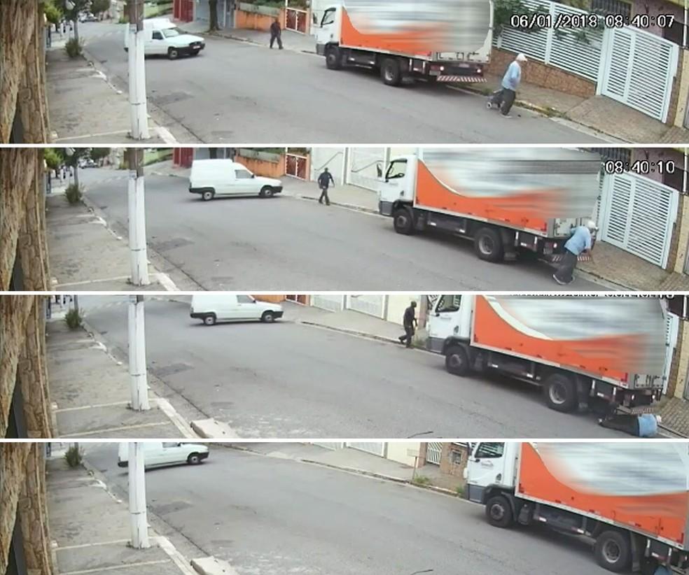 Câmera de segurança registrou o atropelamento do idoso em São Bernardo do Campo (Foto: Reprodução/Redes sociais)